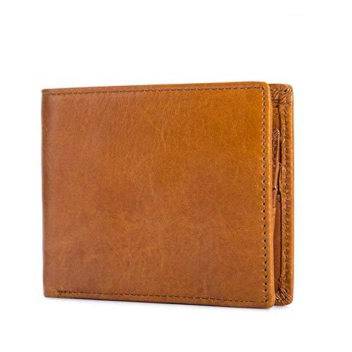 DZX Mens Wallet Clip Echtes Leder Geldbörse Mit 1 ID Fenster Schwarz/Orange,Orange -