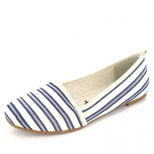 Tamaris Damen 24668 Slipper Blau (Navy Stripes)