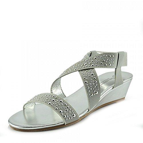 Kick Footwear - Donna diamante cuneo slip on dressy parti della piattaforma sandali Argento F10735