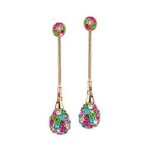 Yoursfs brillanti placcato oro rosa cristallo multicolore orecchini pendenti