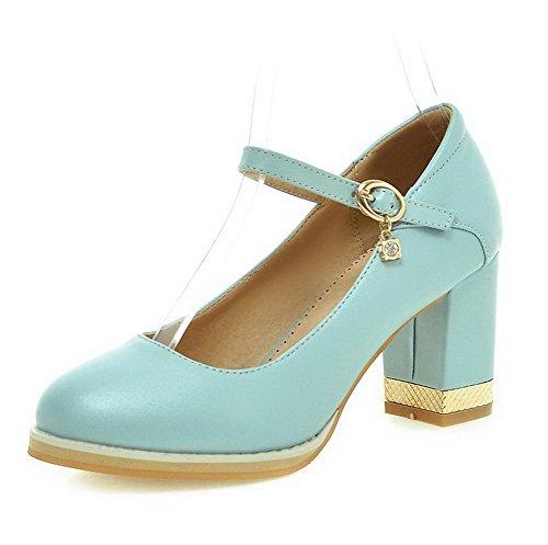 VogueZone009 Femme Matière Souple Rond Boucle Couleur Unie Chaussures Légeres Bleu