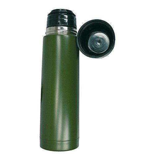 BKL1® Vakuum Thermosflflasche 1,0L Thermoskanne Outdoor Camping Jagd Angeln Grün Oliv 1576