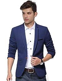 Trulyfeb Solid Single Breasted Casual Men Blazer (Blue)