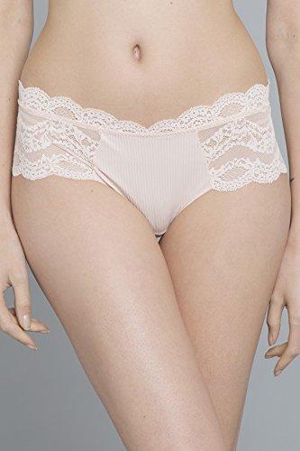 Maison Lejaby 17269-321 Women's Insaisissable Peach Pink Lace Knicker Shorties Boyshort Medium -