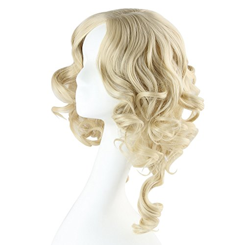 Discoball High Quality Natural Looking Light Blonde Short Wavy Curly Wig For Women Fancy Dress & Cosplay Party by discoball