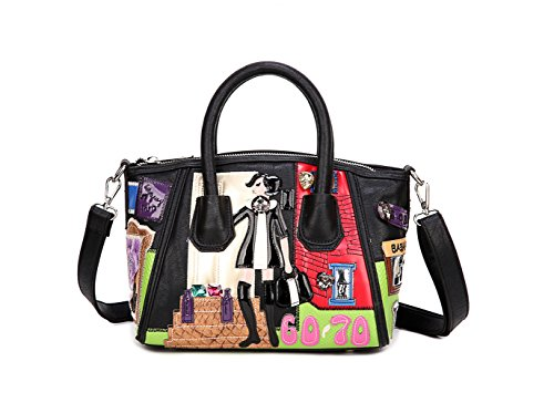fanova-women-girls-personalized-diy-cartoon-handbags-cute-pu-bag-top-handle-shoulder-bag-tote-black