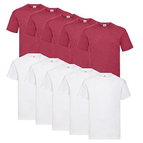 Fruit of the Loom 10 T Shirts Valueweight T Rundhals S M L XL XXL 3XL 4XL 5XL Übergröße Diverse Farbsets auswählbar (L, 5 Weiß/5 Vintage H.Red)