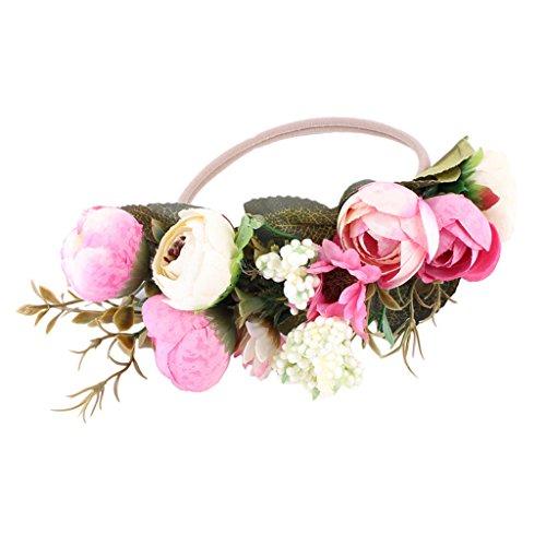 Homyl Neugeborene Fotografie Kostüm Kreativ Baby Fotoshooting Haarband Krone Kranz mit Blumen Kopfschmuck - Rosa (Kreative Kostüme Kleinkinder)