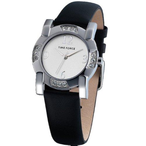 Time Force TF-3166L02 Montre avec cadran en acier et bracelet en cuir pour femme Argenté/noir - - -