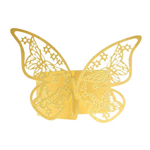 50Pcs Schmetterling Serviettenring Papierhalter Tabelle Fest Braut Hochzeit Bevorzugungen Jahrestag Dekorationen Golden Yellow