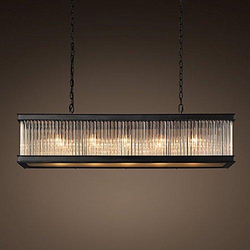 CUICAN Glas klar Pendelleuchte Hängelampe Hotels Wohnzimmer Empfangshalle Vintage Deckenlampe-H 150x35x28cm(59x14x11inch)