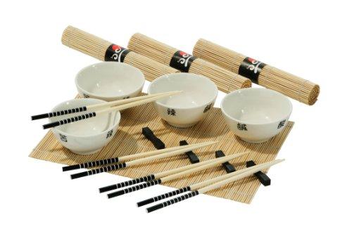 16pc Chinese Dining Set, 4 weiße Porzellanschalen, 4 Bambusmatten, 4 Bambus Essstäbchen, 4 Reste