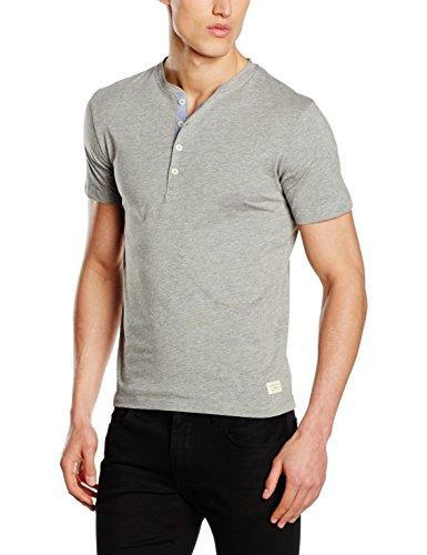 SELECTED HOMME Herren T-Shirt Shhniklas SS Split Neck NOOS, Grau (Light Grey Melange), XX-Large (Henley T-shirt Jersey)