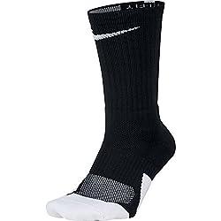 Nike Dry Elite Unisex 1.5 Crew Basketball Socks (1 Pair), Black/White/White, Small