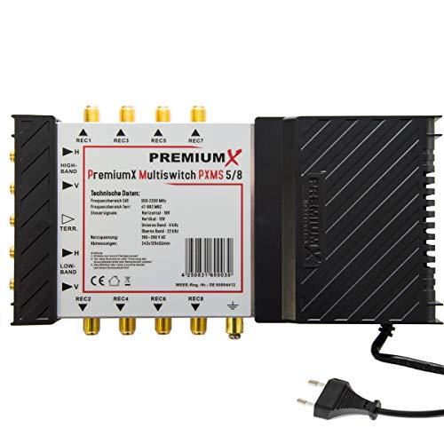 PremiumX Multischalter 5/8 Sat Multiswitch für bis zu 8 Teilnehmer Satverteiler Digital FullHD 4K UHD HDTV