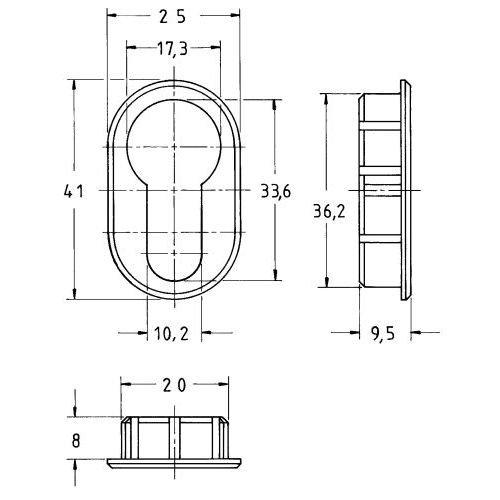 5 Stück Oval-Rosette 7420 PZ vernickelt 7420 00002