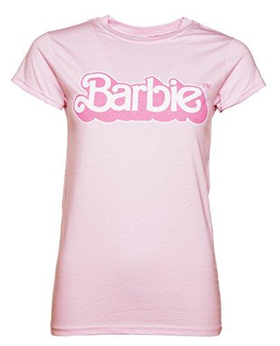 TruffleShuffle Womens Pink Barbie 80s Logo T Shirt (T-shirts Barbie)
