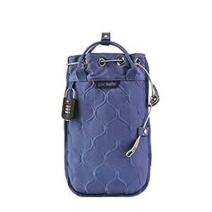 Pacsafe Travelsafe 3L - Mobiler Safe mit TSA-Zahlen Schloß, Trage-Tasche mit Anti-Diebstahl Technologie, 3 Liter Volumen, Blau/Storm