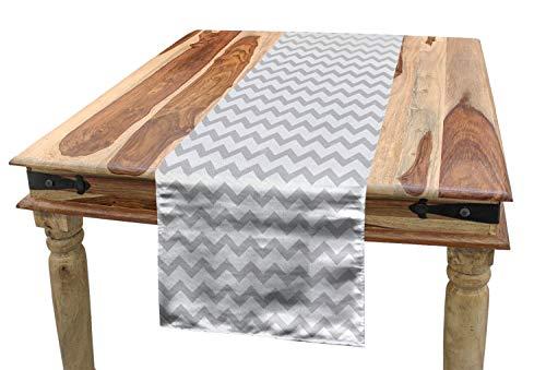 ABAKUHAUS Grau und Weiß Tischläufer, Zickzack Chevron, Esszimmer Küche Rechteckiger Dekorativer Tischläufer, 40 x 300 cm, Hellgrau Weiß
