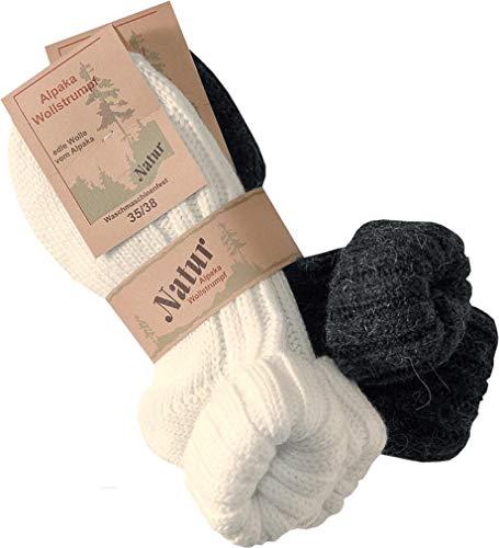 RS. Harmony | Socken und Strümpfe für Damen | Alpaka mit Umschlag | 2 Paar | anthrazit, wollweiß | 39-42