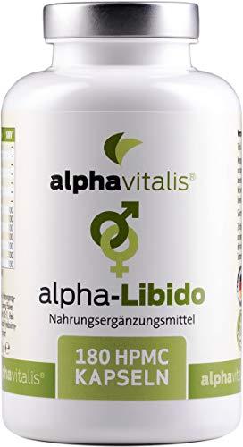 alphavitalis® alpha-Libido HOCHDOSIERT mit L-Arginin + Maca + Tribulus Terrestris + Ginkgo + Ginseng - 180 Kapseln für aktive Männer EINWEG