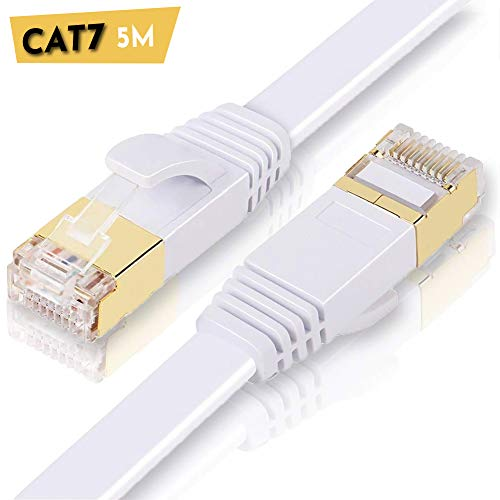 ULTRICS CAT7 Ethernet Kabel 5M, High Speed 10Gbps RJ45 Lan Kabel, 1000Mbit/s Flach Netzwerkkabel Kompatibel mit CAT 5/5e/6/6A, Switch, Router, Modem, Patchfelder, PS4, Xbox One, Access Point