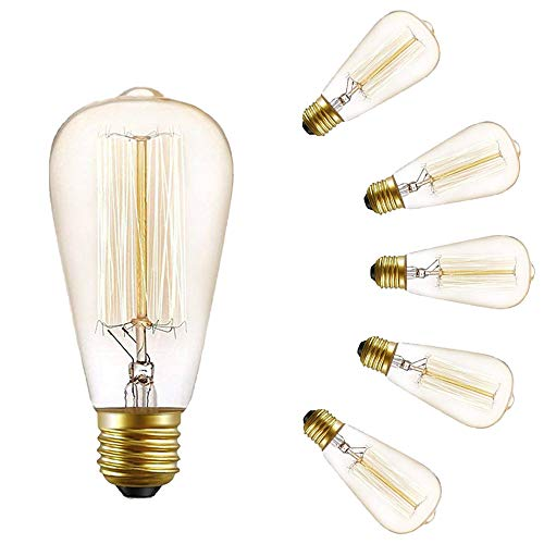 Vintage Glühbirnen E27 Schraube 40w - Pack 6 Edison Schraube Birne, dekorative Glühlampen, ST64 Eichhörnchen Cage Bulb Schraube
