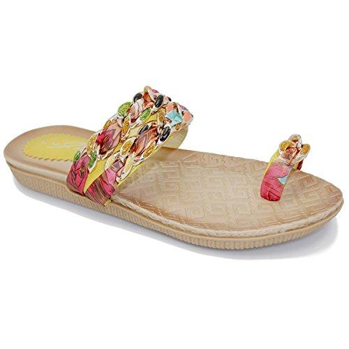 SAPPHIE BOUTIQUE Donna Comodo Punta Anello Multicolore Catena Nastro Spalline Sandali Multicoloure