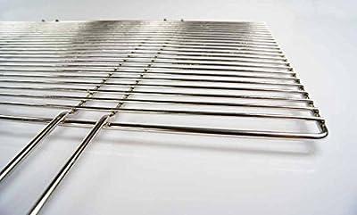 AKTIONA verchromter Grillrost 54 x 34 cm mit festen Handgriffen, nur 10 mm Stababstand, Rahmen Ø 6mm, Stäbe Ø 4mm !!! stabile & Massive Ausführung u.a. für Buschbeck Gasgrill Grillkamin
