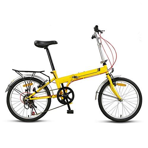 WHKJZ Unisex Stahlkohlenstoff Falt Fahrrad 20Zoll 7 Gang Freilauf Kettenschaltung Tragen und langlebig Reibungslose Anstrengung,Yellow