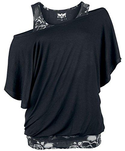 Black Premium by EMP Bat Double Layer Maglia donna nero/grigio XXL