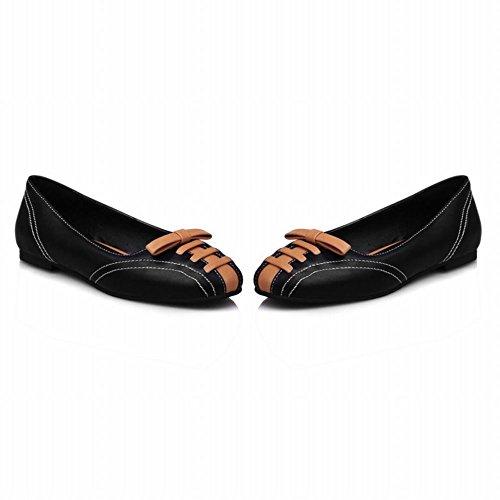 MissSaSa Damen flach geschlossen runde Spizte Slipper mit Schleife Schwarz