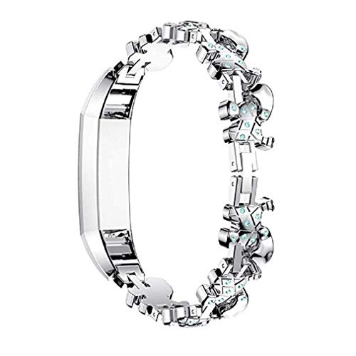 Photo Gallery cinturino alla moda, fittingran cinghie compatibili fitbit alta hr ace donne regolabile in metallo inox sostituzione elegante gioielli design dressy bracciale diamond (argento)