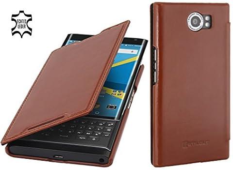 StilGut Book Type, housse en cuir avec fonction Smart Cover pour BlackBerry PRIV, en cognac