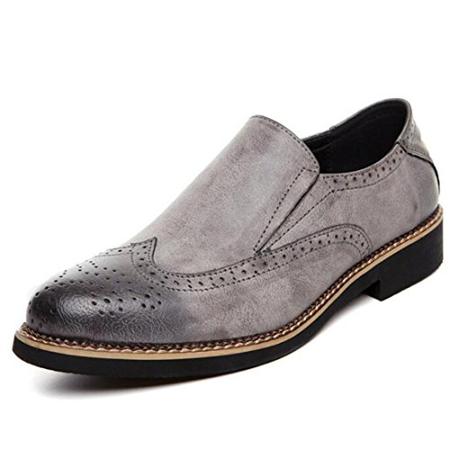 Men's Brogue Cut Outs Pointed Toe PU Leather Formal Shoes Grey