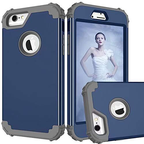 SHENYUAN-Modeetui 3 in 1 PC + TPU Hochleistungs-Leihmischungs-Rüstungs-Höhen-Auswirkungs-stoßfeste schützende Fall-Abdeckung für IPhone 6 / 6S (Farbe : Marine+Grau) (6 Iphone Fällen Hybrid-rüstung)