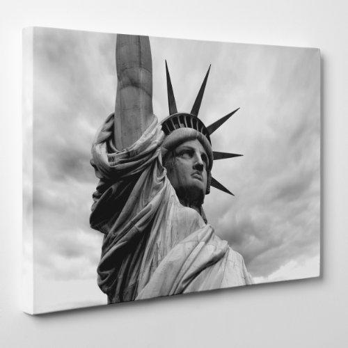 Quadro auf Leinwand - fertig zum Aufhängen - Cittö New York B/N - Freiheitsstatue - Liberty - USA America - 70 x 100 cm - ohne Rahmen - (Cod.001)