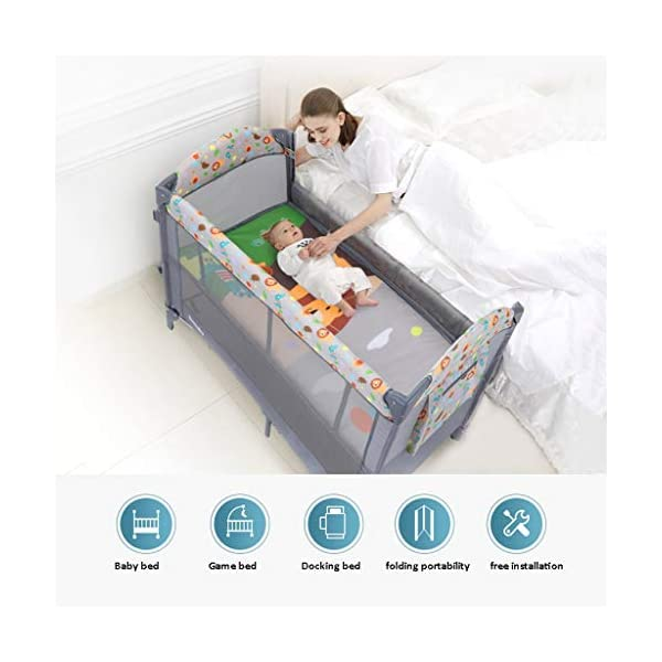 Travel Crib Cots Baby Nest Pod Bassinet Multifunctional Crib Travel Cots for Baby Sleeptight Portable Folding Carry with Mattress, Diaper Table, Mosquito Net, Toy Stand Grey and Blue (Color : A) OZYN Travel cots 【2-IN-1 BABY TRAVEL COT】There are two layers on this baby travel bed, the top layer is suitable for feeding and resting, and the bottom layer is ideal for crawling or learning to walk. You can use our infant cot in various kinds of places according to your different needs. 【MATERIAL】High quality oxford material, soft and comfortable, free of paint formaldehyde, wear-resistant, dirt-resistant, durable, preferably coir mattress, care for your baby's body and healthy growth 【SAFE CONSTRUCTION FOR BABY】You can find that the rail of this baby travel bed is high, and this design is better to ensure the safety of kids while playing. You are able to keep a close eye on your child all the time and do not need to stand up as you can focus on them by mesh side. 3
