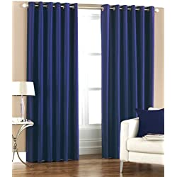 Pindia Eyelet Polyester Window Curtain - 4ft, Royal Blue