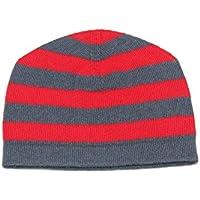 Cappello 100% Cashmere Baby Striped, Mongolia 2 PLY Cachemire 26/2 Filati, Red & Braccialetti Grigio Neonato 6-18 mesi © Moksha Cashmere