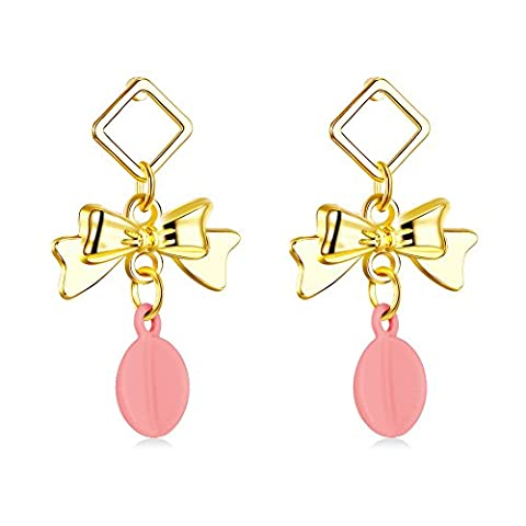FushoP 18K Bow avec Teardrop Pink Resin Dangle Earring (Plaqué or)