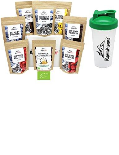 ALPENPOWER | BIO WHEY Protein Probierbox 7 Sorten (7 x 65 g) + Shaker | Inkl. Bio-Kokosblütenzucker (1 x 100 g) | Ohne Zusatzstoffe | 100% natürliche Zutaten | Bio-Milch aus Bayern und Österreich (Bio-protein-milch)