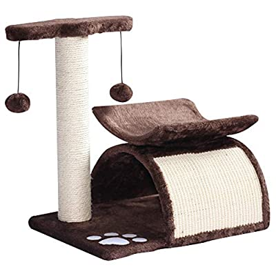 Pawhut Cat Tree Scratching Post Kitten Scratcher Kitty Activity Play Center Sisal Rotatable Top Bar Tunnel Dangling Ball from MH STAR UK LTD