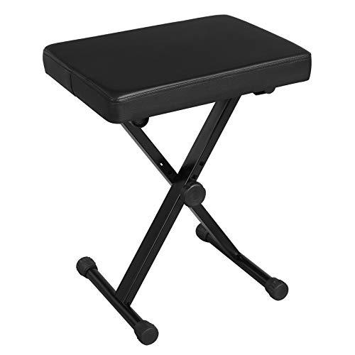SONGMICS Verstellbare Keyboardbank, X-Style gepolsterte Klavierbank aus Metall, Schwarz ULPB40BK -