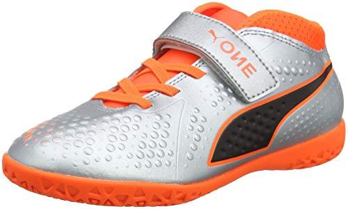 Puma Unisex-Kinder ONE 4 SYN IT V JR Fußballschuhe, Silber Silver-Shocking Orange Black 01, 36 EU - Kinder Fußball Schuhe Puma