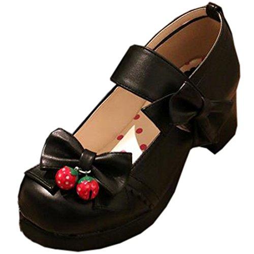 Partiss Damen Sweet Lolita Wedge Shoes Japanisch High-top Casual Lolita Pumps Herbst Fruehling Hochzeit Tanzenball Maskerade Cosplay Diestmaedchen Bowknots Platform Pumps Lolita...