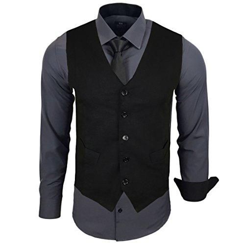 Rusty Neal Herren Anzug Weste Anzugsweste Sakko Weste Wählbar mit Hemd RN-44-HWK, Farbe:Anthrazit;Größe:5XL