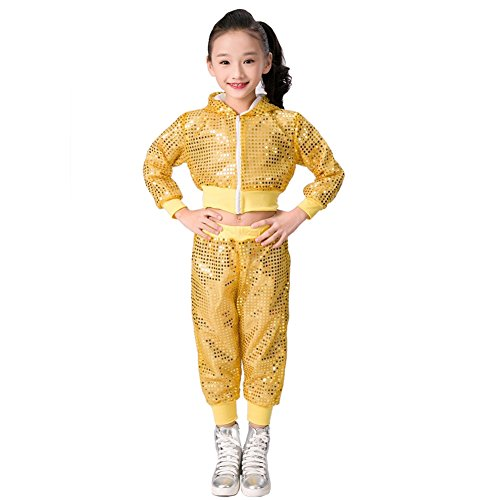Kinder Mädchen Pailletten Hip Hop Kostüm Street Dance Kleidung gesetzt (146/152, ()