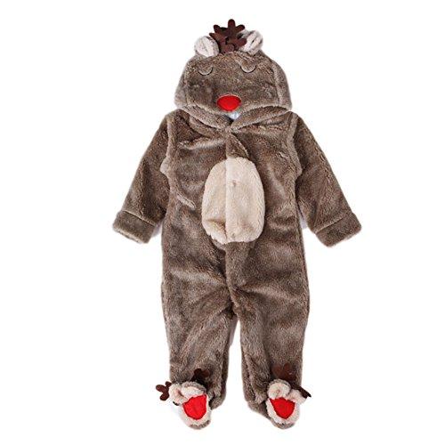 Morbuy Bébé Barboteuse, Noël Cadeau Grenouillères Pyjamas Unisexe Animal Combinaison Automne Hiver Enfant Flanelle Filles Costume (L 80CM)