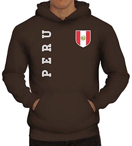 Wappen Fußball WM Fanshirt Gruppen Herren Hoodie Männer Kapuzenpullover Fan Trikot Peru, Größe: 3XL,braun
